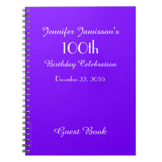 100th Birthday Party Guest Book Purple Solid Spiral Note Book