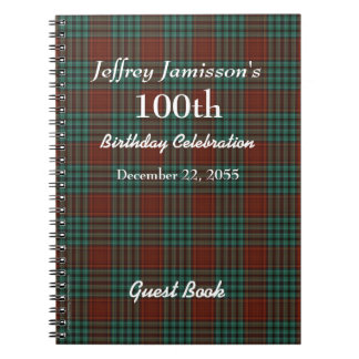 100th Birthday Party Guest Book Red & Green Plaid Spiral Notebooks