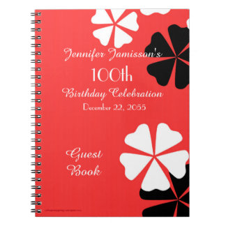 100th Birthday Party Guest Book Red/White Floral Spiral Notebook