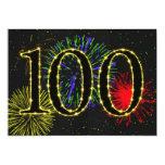 """100th  birthday party invitate 5"""" x 7"""" invitation card"""