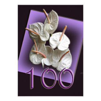 100th Birthday Party Invitation - Antheriums