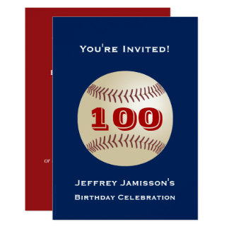 100th Birthday Party Invitation Baseball