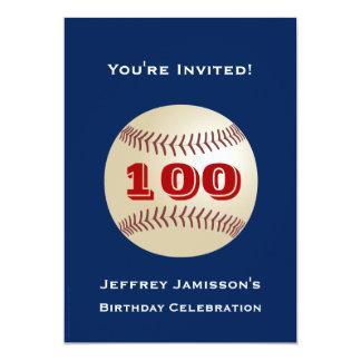 100th Birthday Party Invitation Baseball