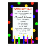 100th Birthday Party Invitation -- Candles & Dots Cards