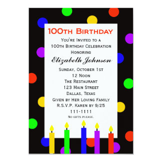 "100th Birthday Party Invitation -- Candles & Dots 5"" X 7"" Invitation Card"