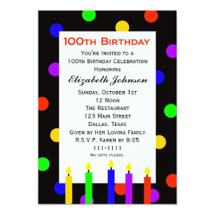 100th birthday invitations announcements zazzle 100th birthday party invitation candles dots filmwisefo Choice Image
