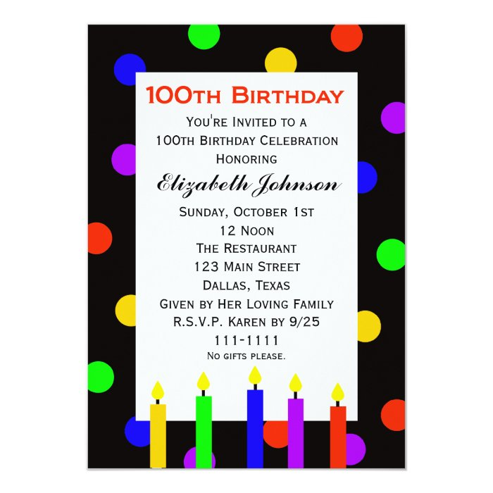 100th Birthday Party Invitation Candles & Dots | Zazzle