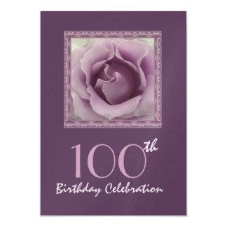 100th Birthday Party Invitation DREAMY PURPLE Rose