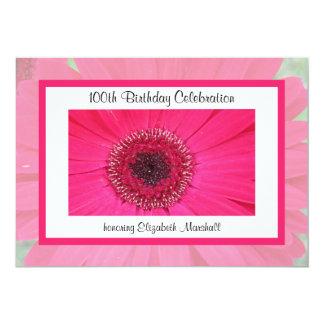 """100th Birthday Party Invitation -- Gerbera Daisy 5"""" X 7"""" Invitation Card"""