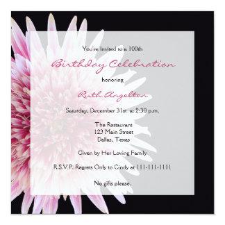 "100th Birthday Party Invitation -- Gerbera Daisy 5.25"" Square Invitation Card"