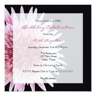 100th Birthday Party Invitation Gerbera Daisy
