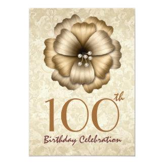 100th Birthday Party Invitation Gold Flower Bow Custom Invites