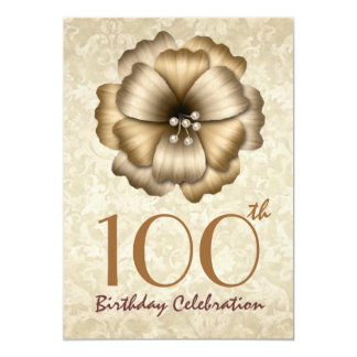 100th Birthday Party Invitation Gold Flower Bow
