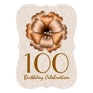 100th Birthday Party Invitation GOLD Flower Bow 7