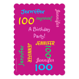 100th Birthday Party Invitation Hot Pink Customize