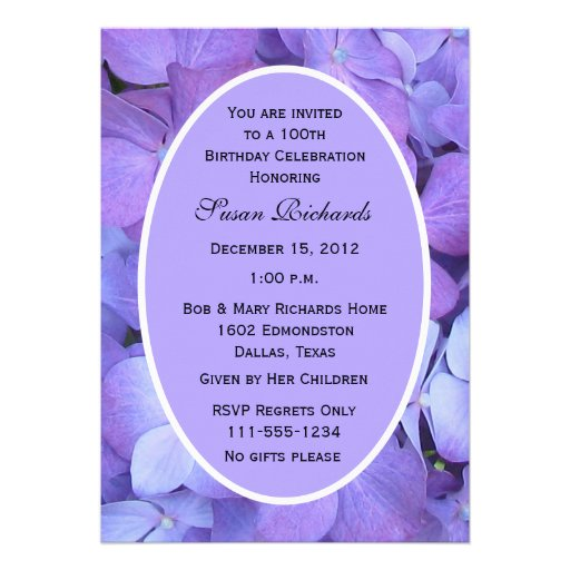 100th Birthday Party Invitation -- Hydrangeas Personalized Invites