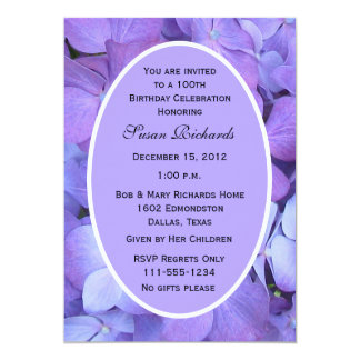 100th Birthday Party Invitation -- Hydrangeas