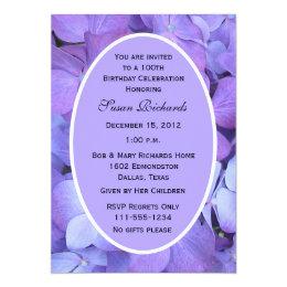 100th Birthday Party Invitation Hydrangeas