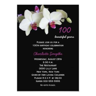 "100th Birthday Party Invitation -- Orchids 5"" X 7"" Invitation Card"
