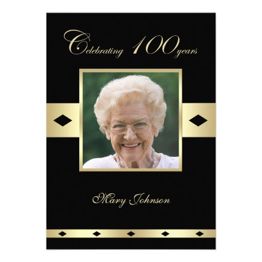 100th Birthday Party Invitation -- Photo 100th Custom Invite