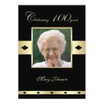 "100th Birthday Party Invitation -- Photo 100th 5"" X 7"" Invitation Card"