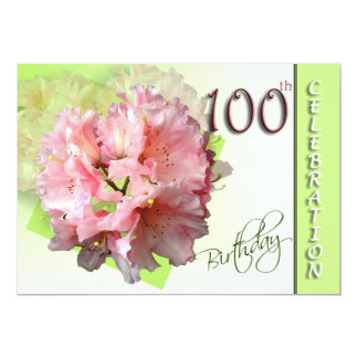 100th Birthday Party Invitation, Pink Rhododendron Card