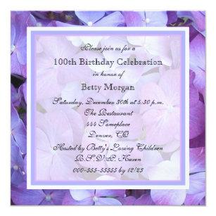 100th birthday invitations announcements zazzle 100th birthday party invitation purple hydrangeas filmwisefo Choice Image
