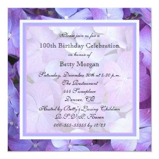 100th Birthday Party Invitation Purple Hydrangeas