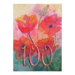 100th Birthday Party Invitation - Red Poppies