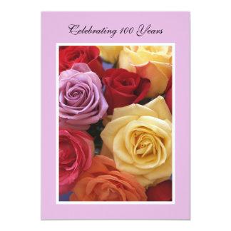 "100th Birthday Party Invitation -- Roses 5"" X 7"" Invitation Card"