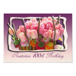 100th Birthday Party Invitation - Tulips