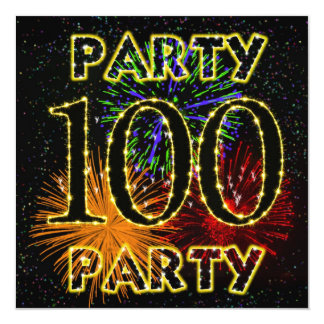 100th birthday party invitation with fireworks