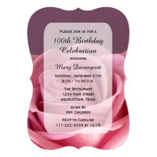 100th Birthday Party Invitation with Gorgeous Rose