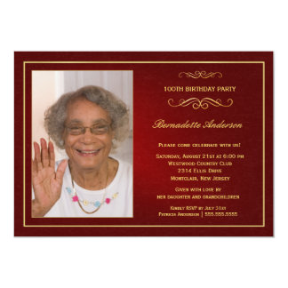 "100th Birthday Party Invitations - Add your photo 5"" X 7"" Invitation Card"