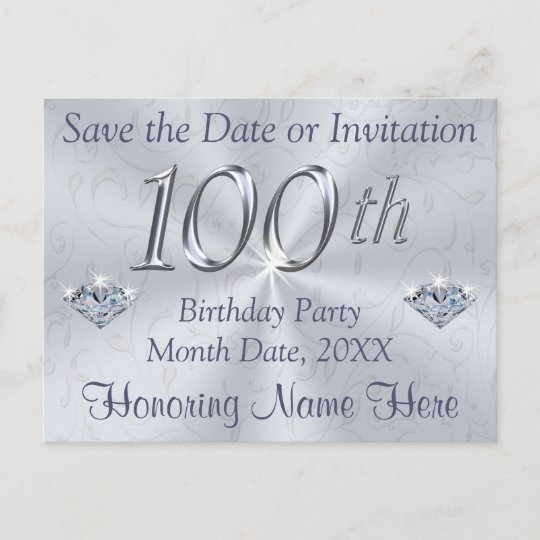 100th birthday party invitations or save the date zazzle com