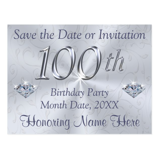 100th Birthday Party Invitations or Save the Date Zazzlecom