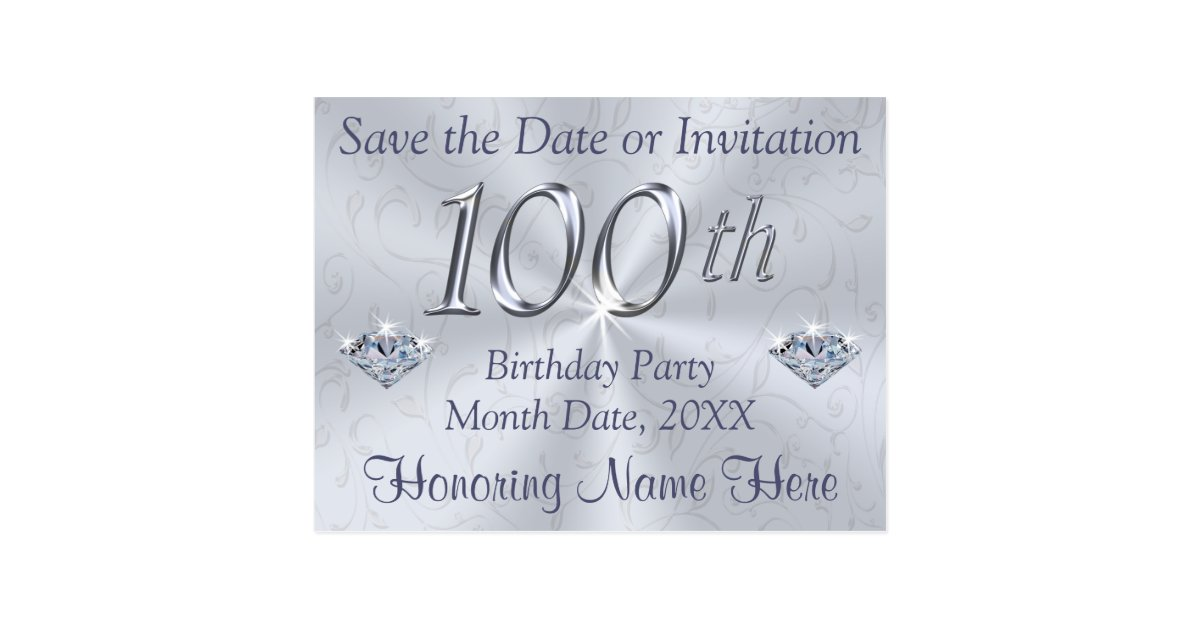 100th Birthday Party Invitations or Save the Date | Zazzle.com