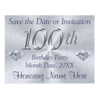 100th Birthday Party Invitations or Save the Date Postcard