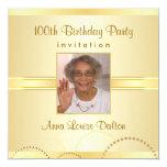 100th Birthday Party Invitations - Photo Optional