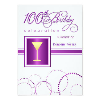 "100th Birthday Party Invitations - with Monogram 5"" X 7"" Invitation Card"