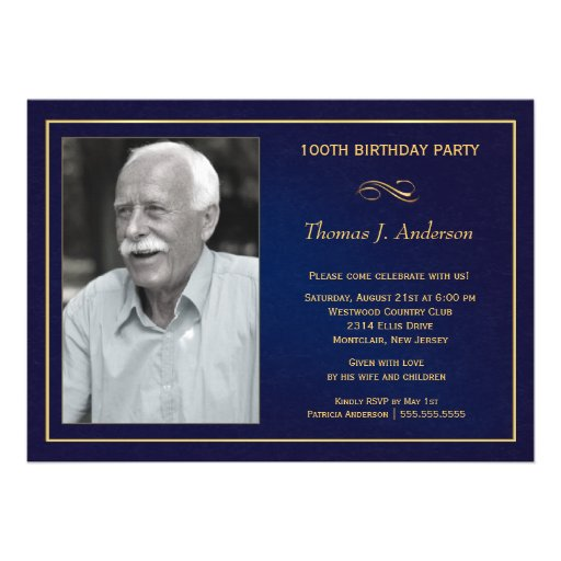 100th Birthday Party Invitations with photo