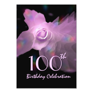 100th Birthday Party Invite PINK Butterfly Rose