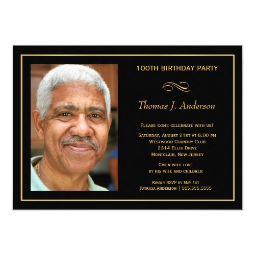 100th Birthday Party Mens Black and Gold Photo Invitation