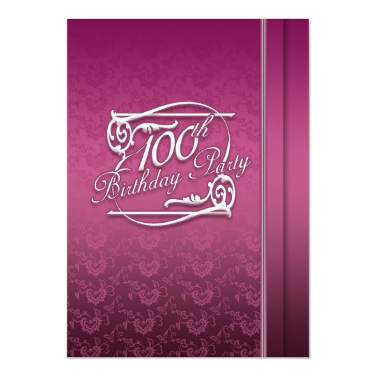 100th birthday party modern invitation