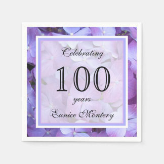 100th Birthday Party Paper Napkins Standard Cocktail Napkin
