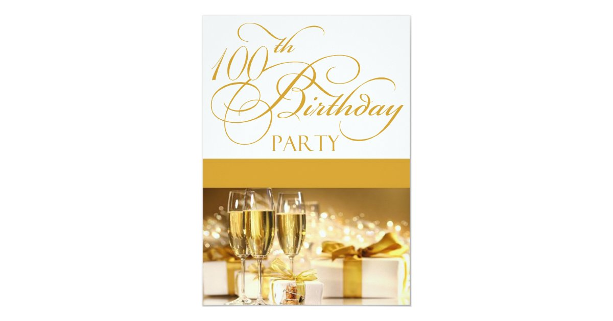 100th Birthday Party Personalized Invitation Zazzle Com
