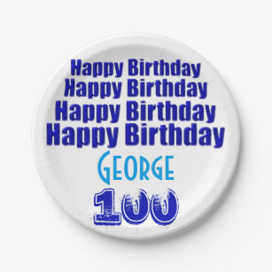 100th Birthday Party Personalized Paper Plates  sc 1 st  Zazzle & 100th Birthday Plates | Zazzle