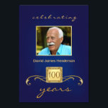 """100th Birthday Party Photo Invitations - Blue<br><div class=""""desc"""">Personalized Birthday Party Invitations for any year -- Elegant and classy with decorative gold accents and monogram. Add your own photo and customize the name, date, and details for your happy celebration. Perfect for both contemporary or vintage photos. Matching postage and thank you cards available. **NOTE: Sized for standard 5...</div>"""