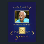 "100th Birthday Party Photo Invitations - Blue<br><div class=""desc"">Personalized Birthday Party Invitations for any year -- Elegant and classy with decorative gold accents and monogram. Add your own photo and customize the name, date, and details for your happy celebration. Perfect for both contemporary or vintage photos. Matching postage and thank you cards available. **NOTE: Sized for standard 5...</div>"