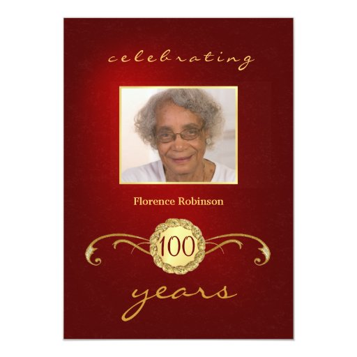"100th Birthday Party Photo Invitations - Red 5"" X 7"" Invitation Card"